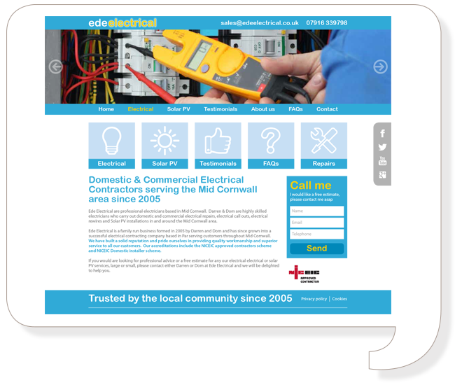 Ede Electrical Website Design